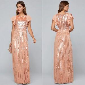 Bebe burnout sequin flutter gown dusty pink